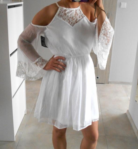 9684847d4b97dd Suknie i sukienki Nelly nowa sukienka biała odkryte ramiona koronka