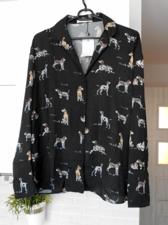 Mango nowa koszula satynowa czarna psy print