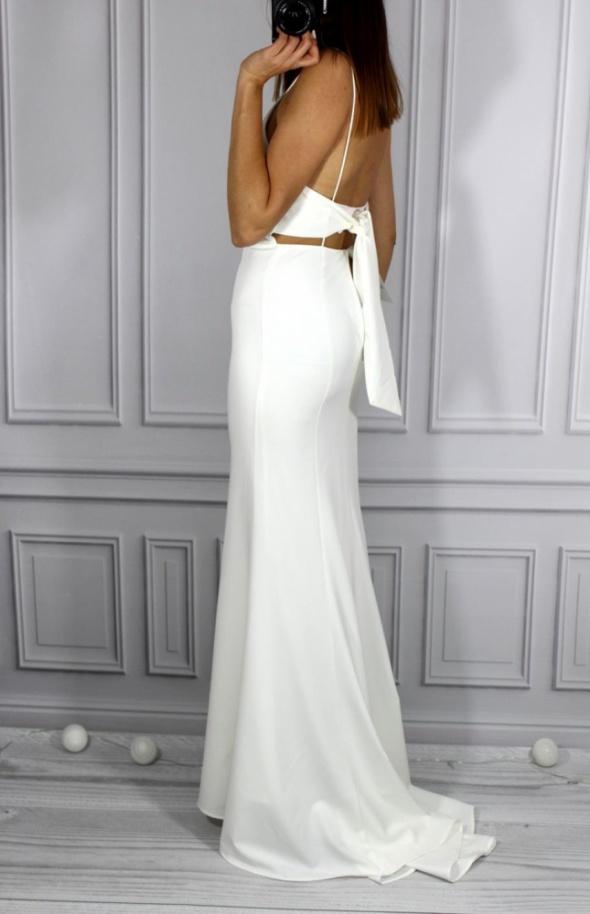 Biała nowa sukienka ślub tren S