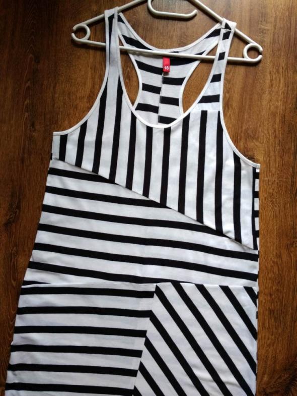 Długa bawełniana sukienka maxi w czarno białe paski H&M XL XXL