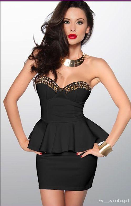 Ołówkowa sukienka z baskinką ćwieki