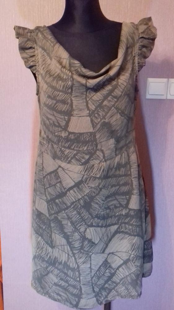 Brązowa krótka sukienka tunika bez rękawów M...