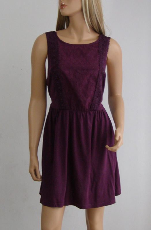 Sukienka dresowa lato fiolet haft koronka 42