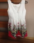 Sukienka kremowa w kwiaty 36 38...