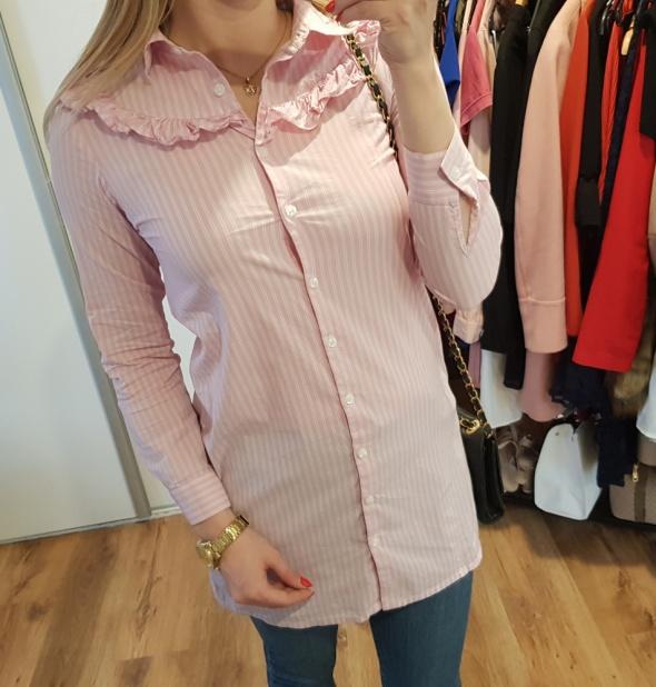 Next koszula długa różowa falbanki S