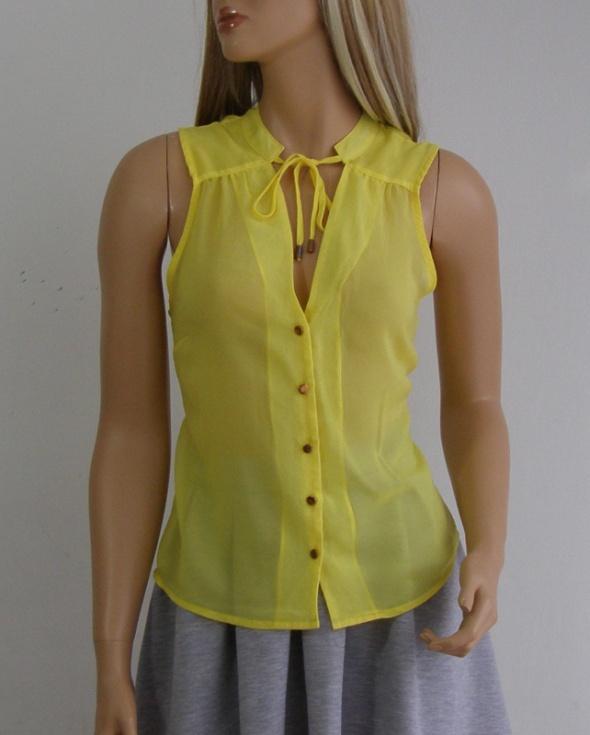 bluzka top żółta H&M 36 S guziki złote