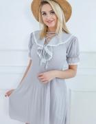 sukienka S M L boho koronka letnia nude plisy retro plisowana v...