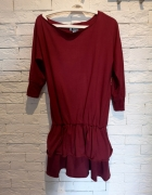 bordowa sukienka S M L burgundowa oversize falbany boho falbana...
