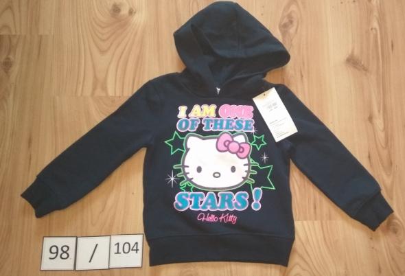 Nowa granatowa bluzka dziewczęca z kapturem Hello Kitty 98 104