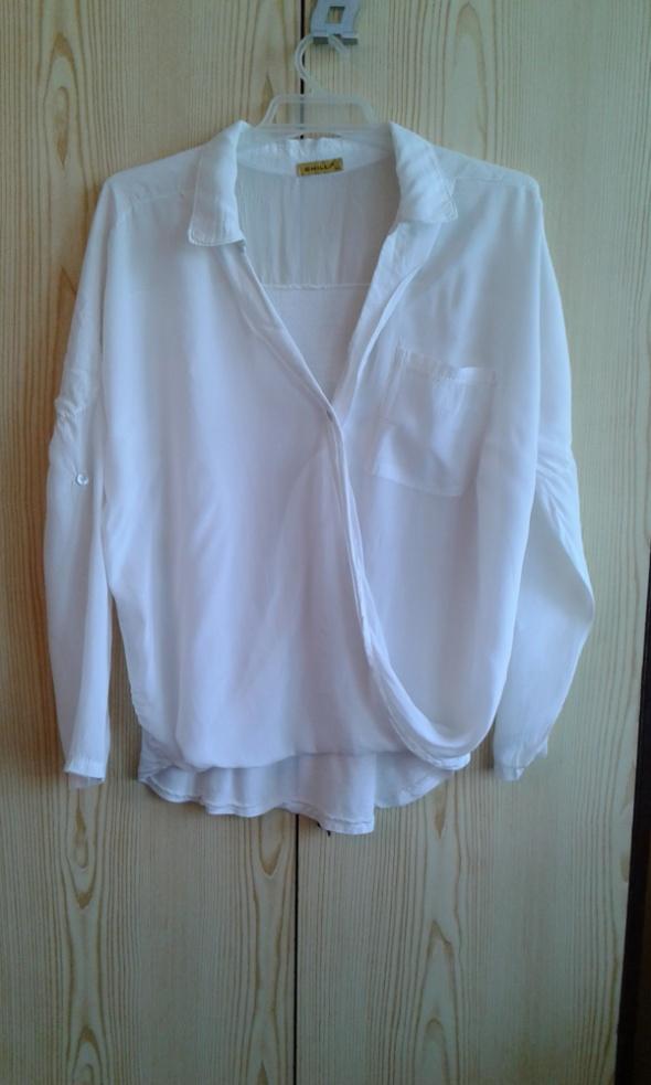 Biała kopertowa bluzka z kołnierzykiem M L...