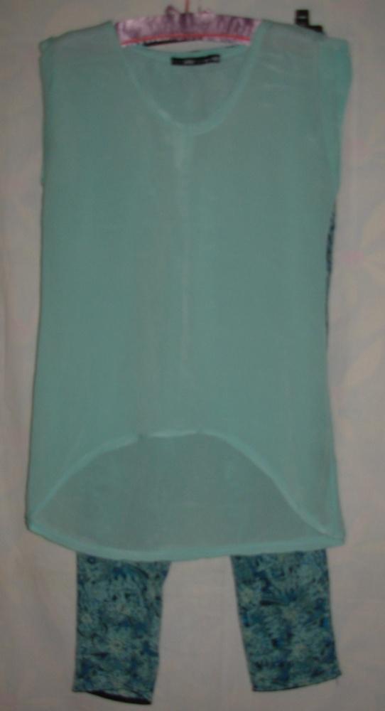 Komplet jedwabny spodnie i bluzka M