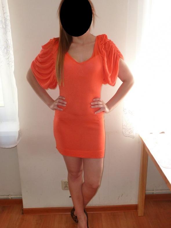 Suknie i sukienki KORALOWA SUKIENKA TUNIKA ATMOSPHERE M L