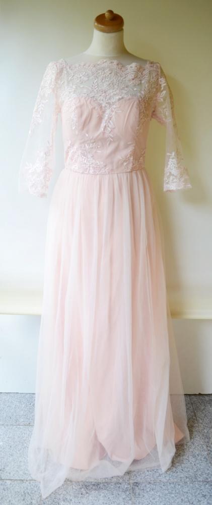 Sukienka Pudrowy Róż Tiul Koronka Chi Chi London L 40