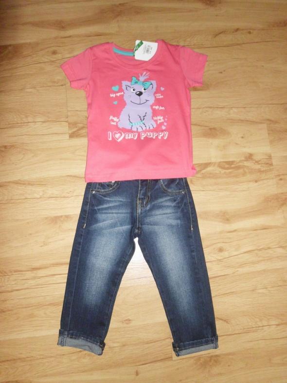 Komplecik różowa bluzeczka i jeansy 104