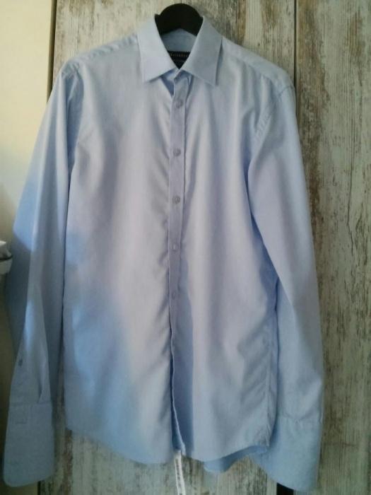 Niebieska koszula na spinki Wólczanka