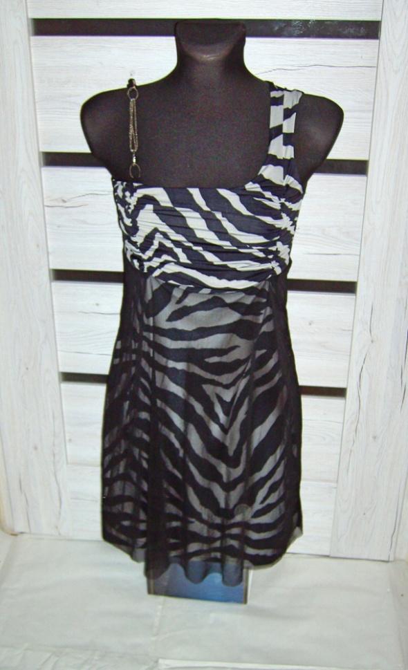 Sukienka szara zebra S M