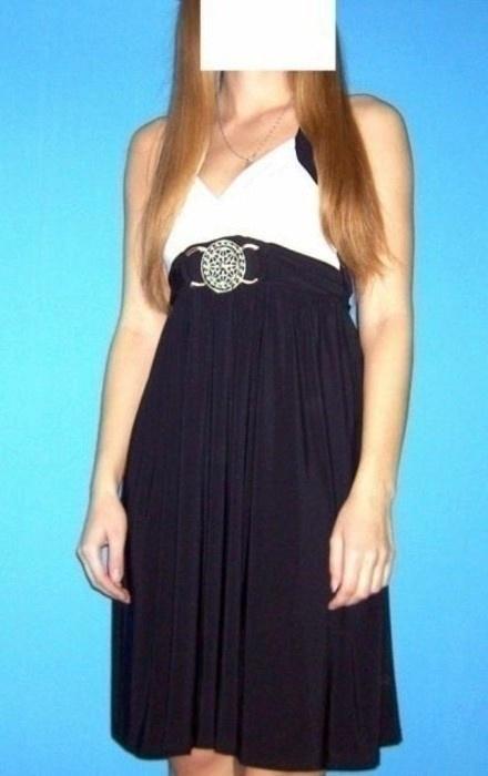 suknia w odcieniu czerni i kremu