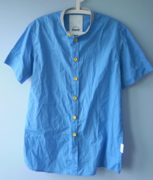 Humor męska koszula niebieska krótki rękaw...