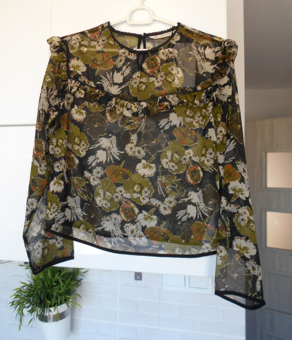 Zara nowa bluzka kwiaty floral mgiełka khaki falbanki