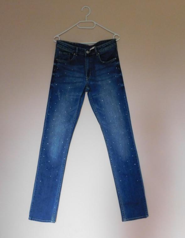 H&M spodnie jeans slim fit cyrkonie 36 38