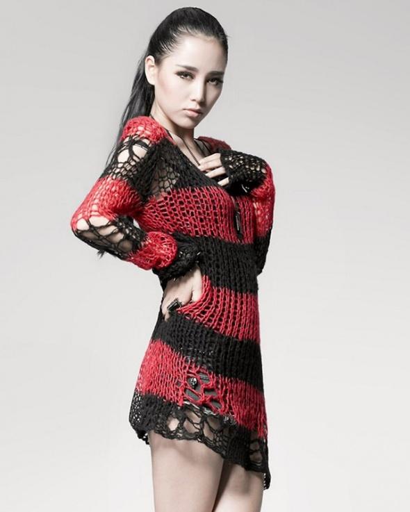 Punk Rave sweter w paski ażurowy gothic gotyk