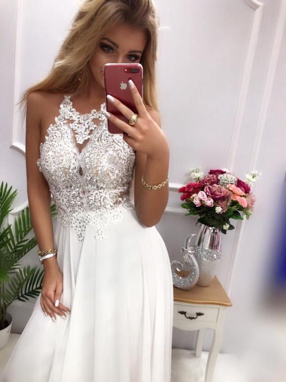 Biała sukienka maxi mercedes