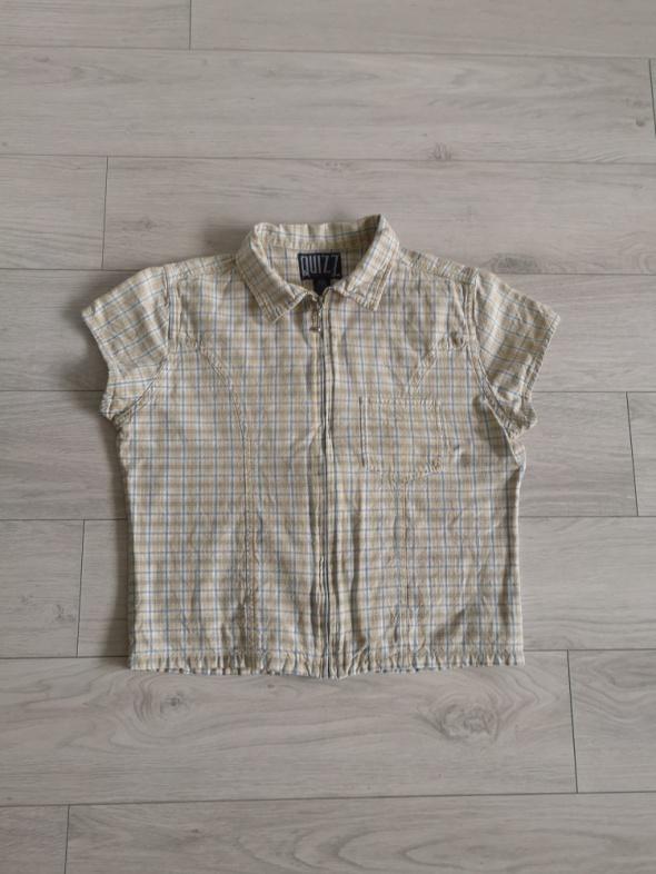 Bluzka w kratę zapinana M L kieszonka kołnierz retro vintage