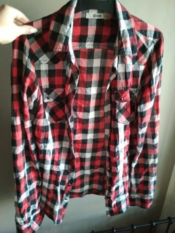 Koszula STRADIVARIUS w kratę S czerwona czarna biała...
