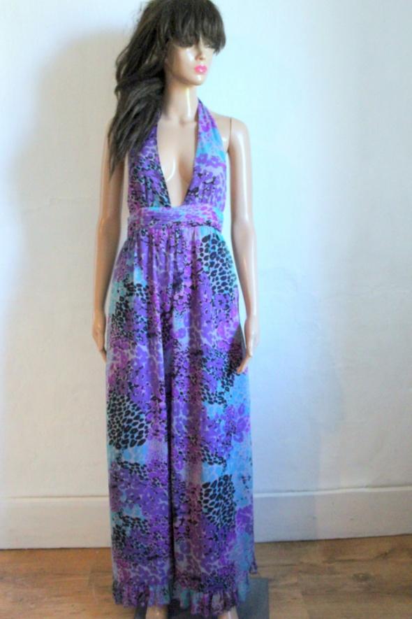 Zwiewna sukienka maxi wiązana na szyi r S...