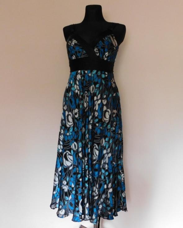 Monsoon sukienka midi jedwab czarna niebieska 38...