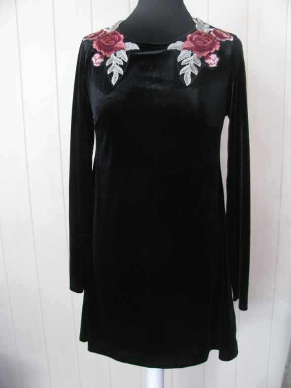 2e81e8a3b643e2 ATMOSPHERE NOWA CZARNA SUKIENKA Z WELURU HAFT 40 w Suknie i sukienki ...
