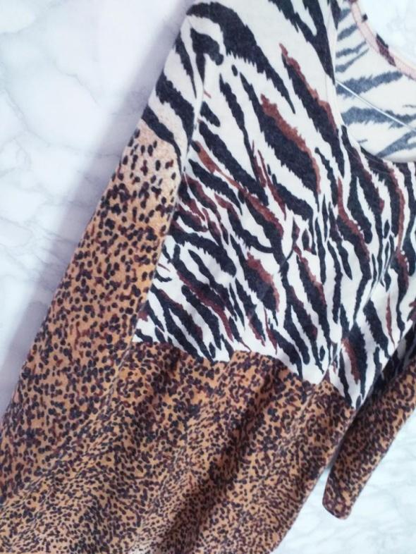 Nowa sukienka oversize dzianinowa sweterkowa print zwierzęcy L XL