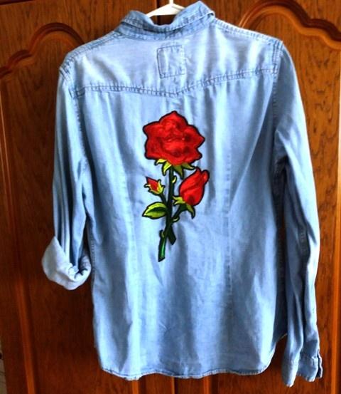 Koszula jeans H&M z dużą różą