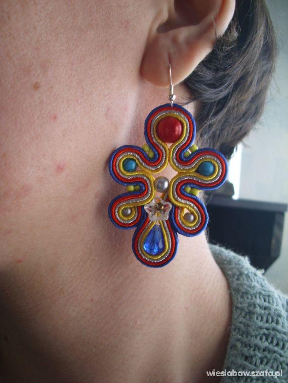 Kolczyki słoneczne haft sutasz