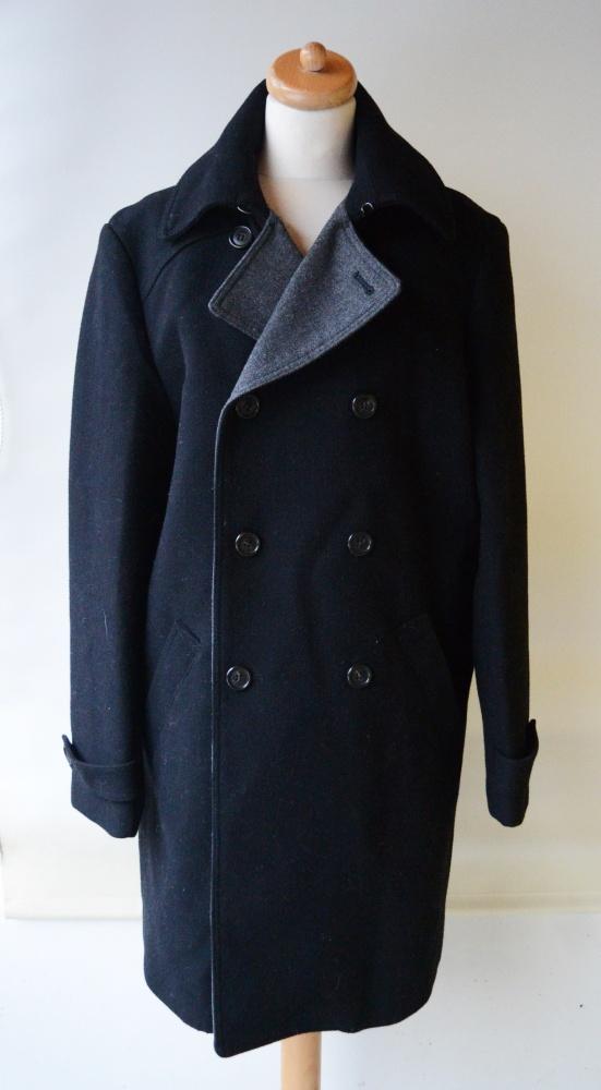 Płaszcz Męski Elegancki Czarny Szare Wstawki H&M 54