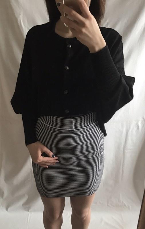 Czarny asymetryczny sweter kardigan sweterek 40 L