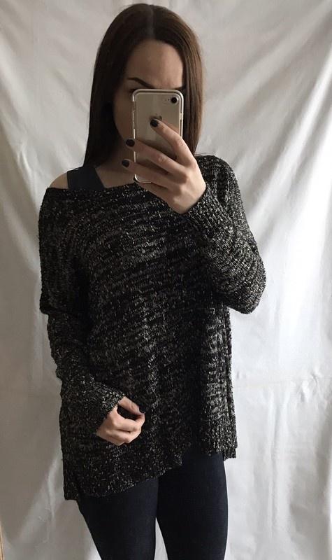 Sweter czarny złoty melanż Reserved M