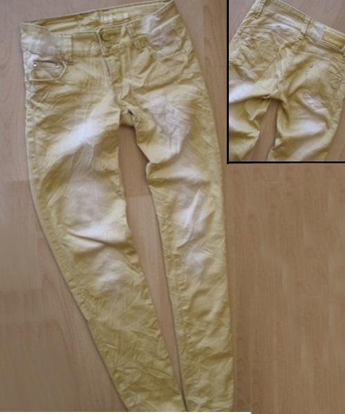 rurki spodnie materiałowe żółte