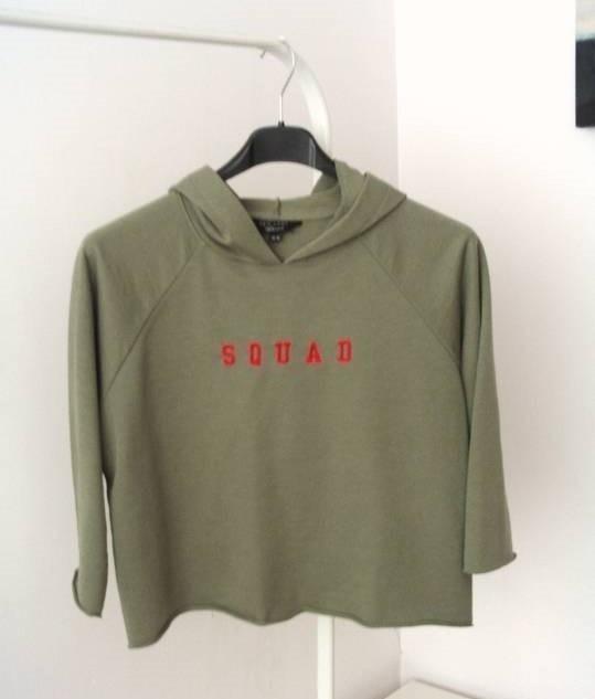Militarna bluza khaki Squad crop top New Look