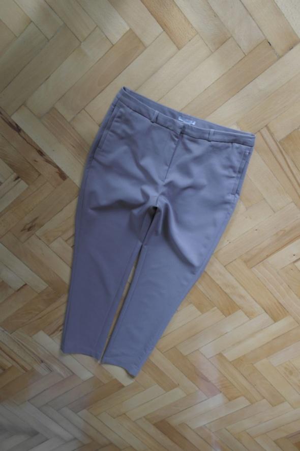 H&M eleganckie spodnie kawowe kieszonki zip r 40