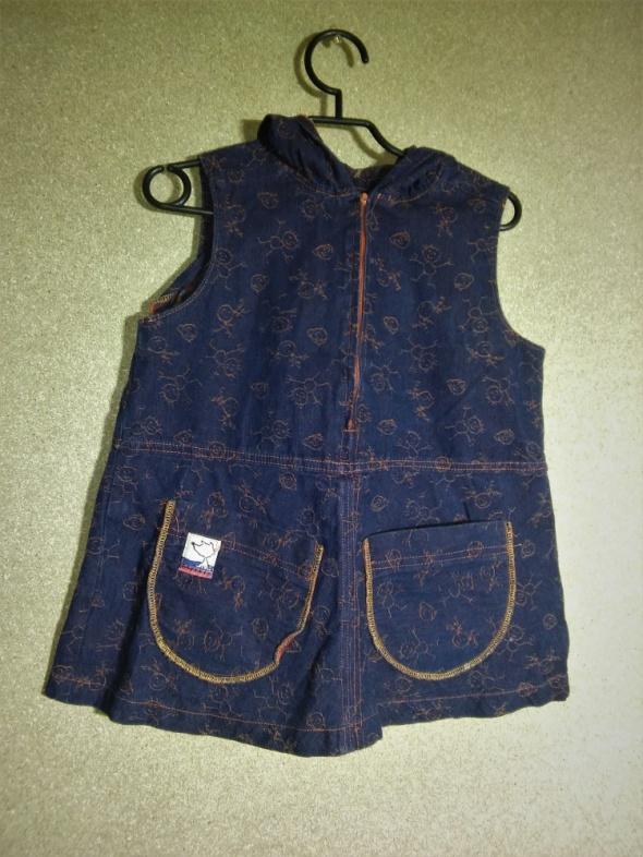 Granatowa trapezowa sukienka z kapturem 98 cm 2 3 lata