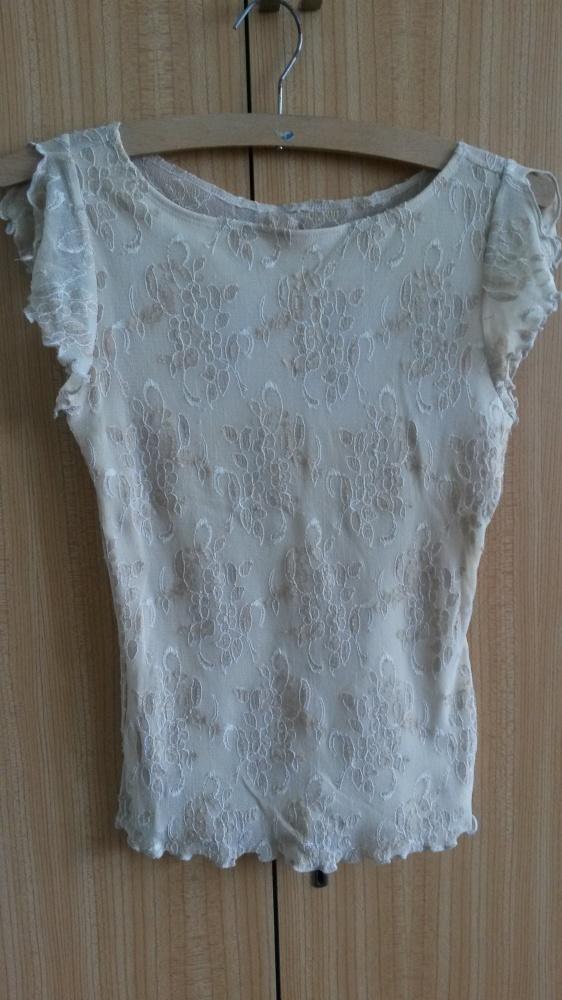 Beżowa bluzka koronka tiul 34 XS