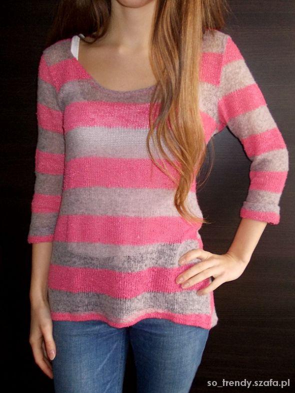 Sweterek w różowo szare paski Next 40 L 38 M 36 S