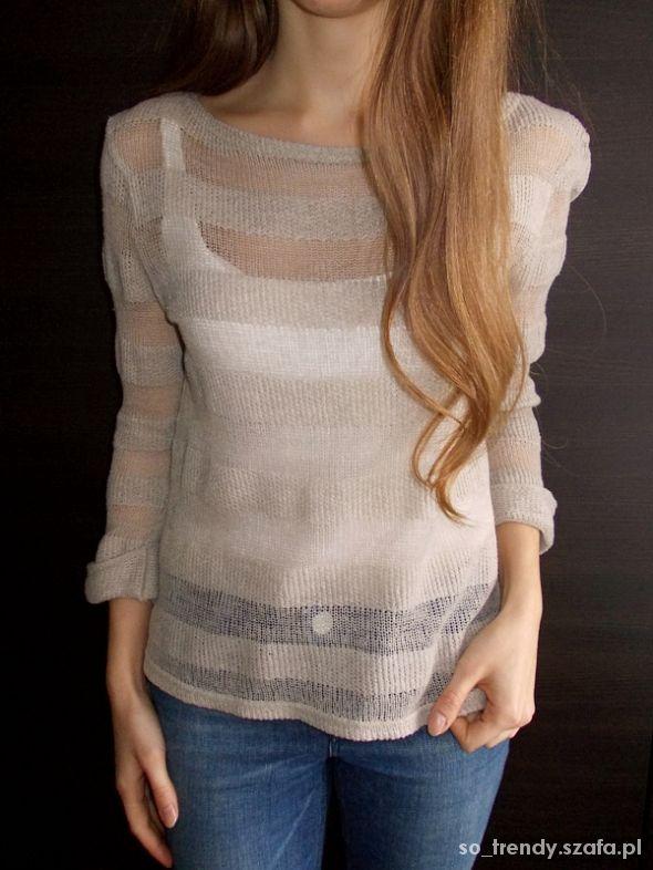 Swetry Szary kremowy sweterek w paski Topshop 38 M 36 S
