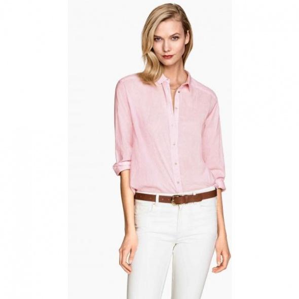 Koszula taliowana H&M rozmiar XS w różowe paski