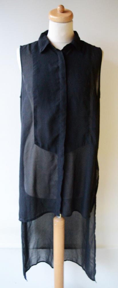 Koszula Czarna Dłuższy Tył Mgiełka Gina Tricot XL 42