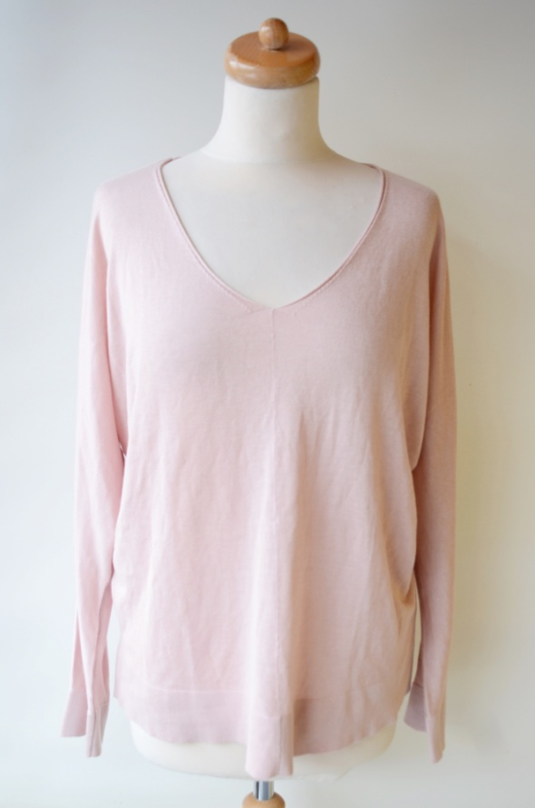 Sweter H&M Basic L 40 Różowy Róż Oversize Elegancki