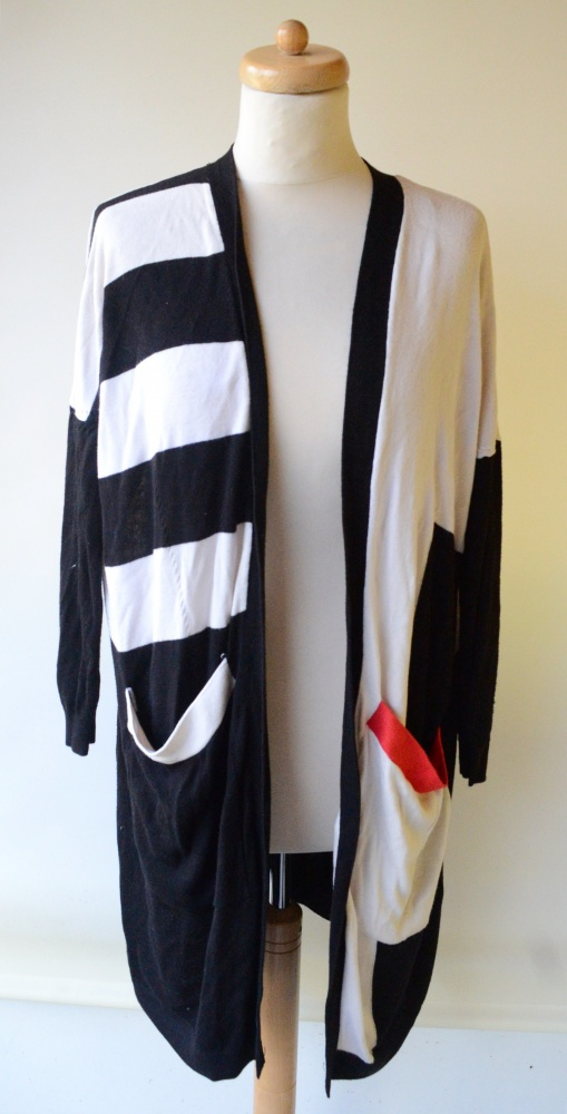 Sweter Kardigan Long H&M XS 34 Wzory Dłuższy