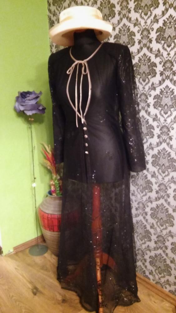 Długi tiulowy żakiet płaszcz ze srebrem 36