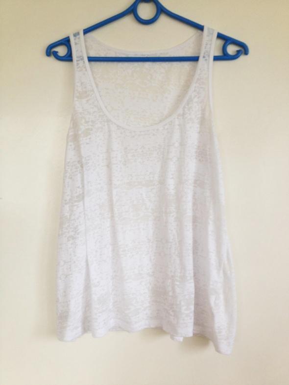 Lekko prześwitująca przeźroczysta bluzka oversize biała blogerek blogerska do legginsów top biały XS S M L 34 36 38 6 8 10